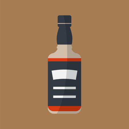 Icono de la botella de whisky. Servir alcohol. Vector plana simple.
