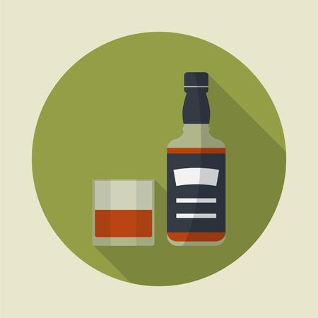Whiskey-Flasche und Glas Whisky, runde, flache Ikone mit langen Schatten. Ausschank von Alkohol. Einfache Wohnung Vektor.