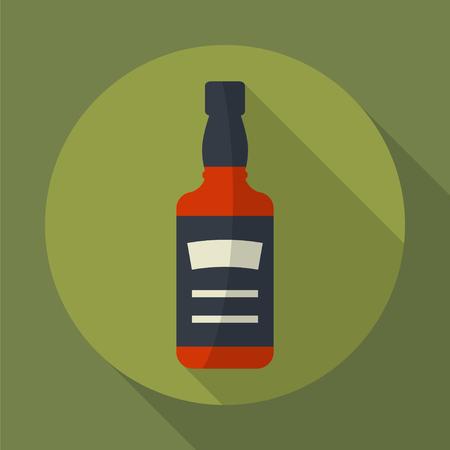 Whiskey-Flasche rund flach Symbol mit langen Schatten. Ausschank von Alkohol. Einfache Wohnung vector.