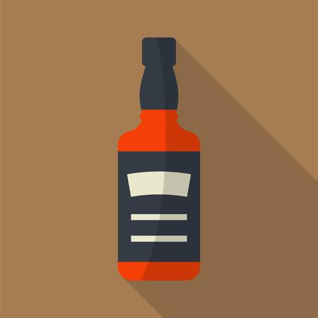 Whiskyflasche Quadrat flach Symbol mit langen Schatten. Ausschank von Alkohol. Einfache Wohnung vector.