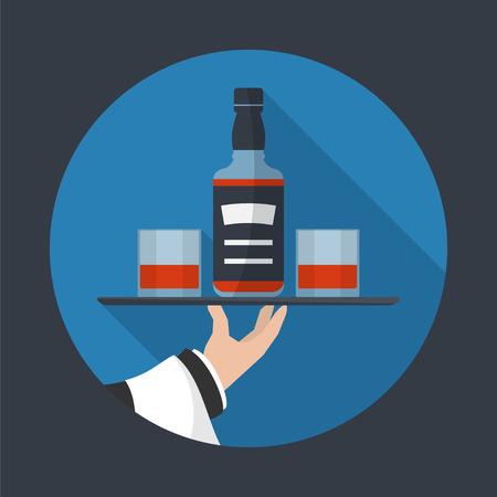 Kellner mit Whisky-Flasche und zwei Gläser und Fach auf ausgestreckten Arm. Getränke Service-Symbol mit langen Schatten. Einfache Wohnung vector.