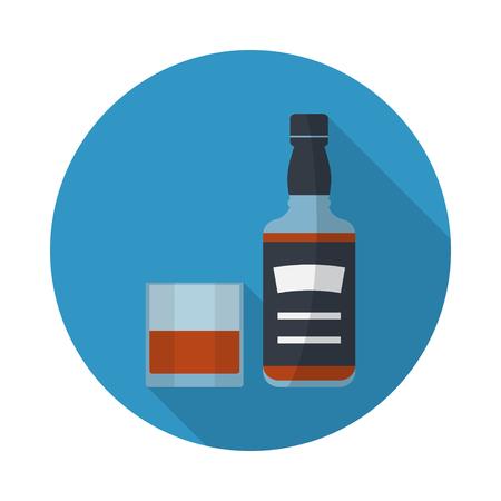 Botella de whisky y vidrio de whisky, icono plano y redondo con largas sombras. Servir alcohol. vector de plano simple. Ilustración de vector
