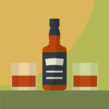 vaso de precipitado: Botella de whisky con dos vasos llenos. Servir alcohol. vector de plano simple.