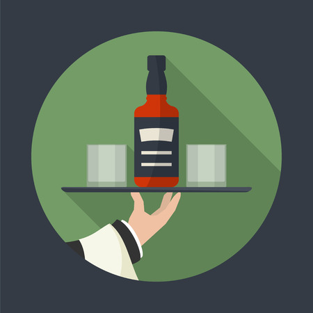 outstretched: Waiter with whiskey  bottle and  two glasses  and tray on outstretched arm. Drinks Service icon with long shadow. Simple flat vector.