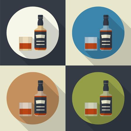 Botella de whisky y vidrio, icono redondo plana con largas sombras. Servir alcohol. simple del vector.