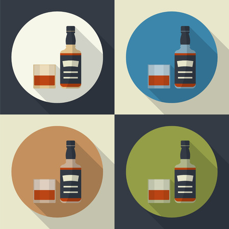 long drink: Whiskey bottle and glass , round flat icon with long shadows. Serving alcohol. Simple  vector.