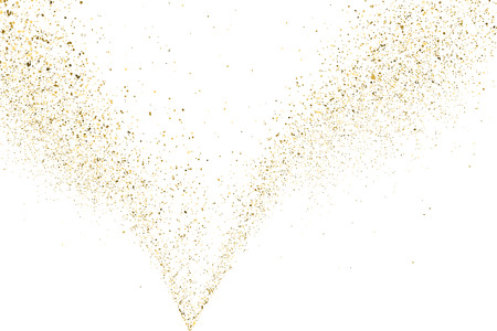 place to shine: Gold glitter texture isolated on white. Golden color of winners. Aureate abstract particles on ofay substrate. Explosion of confetti shine. Celebratory background. Vector illustration. Illustration