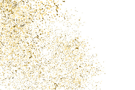 Gold glitter texture isolated on white. Golden color of winners. Aureate abstract particles on ofay substrate. Explosion of confetti shine. Celebratory background. Vector illustration. Illustration