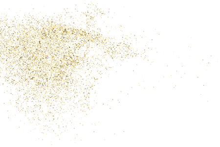 Gold glitter texture isolated on white. Golden color of winners. Aureate abstract particles on ofay substrate. Explosion of confetti shine. Celebratory background. Vector illustration. Stock Illustratie