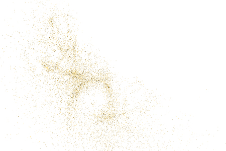 the substrate: Gold glitter texture isolated on white. Golden color of winners. Aureate abstract particles on ofay substrate. Explosion of confetti shine. Celebratory background. Vector illustration. Illustration