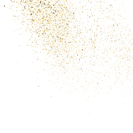 aureate: Gold glitter texture isolated on white. Golden color of winners. Aureate abstract particles on ofay substrate. Explosion of confetti shine. Celebratory background. Vector illustration. Illustration