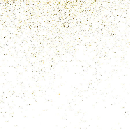 Gold glitter texture isolated on white. Golden color of winners. Gilded abstract particles. Explosion of confetti shine. Celebratory background. Illustration