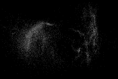 grit: Grainy abstract  texture on  black background.  Snowflakes  design element. Illustration