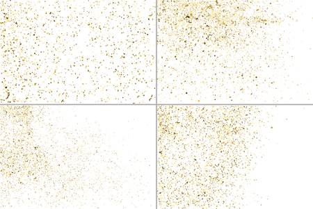 gilded: Gold glitter texture isolated on white. Golden color of winners. Gilded abstract particles. Explosion of confetti shine. Set design element. Celebratory background. Illustration