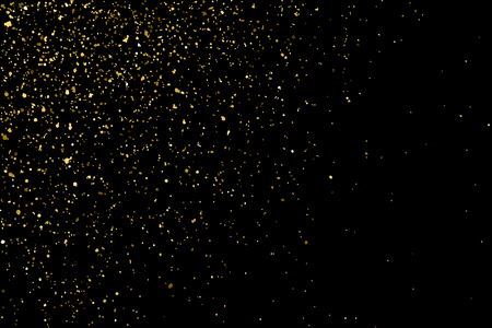 Gold glitter texture isolated on black. Golden color of winners. Gilded abstract particles. Explosion of confetti shine. Celebratory background. Illustration