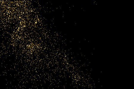gilded: Gold glitter texture isolated on black. Golden color of winners. Gilded abstract particles. Explosion of confetti shine. Celebratory background. Illustration