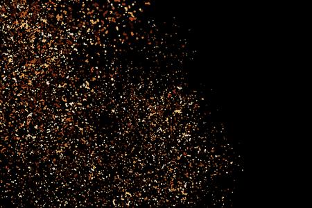 Kaffee Farbe Korn Textur auf schwarzem Hintergrund. Schokoladentönen. Brown Partikel. Vektor-Illustration