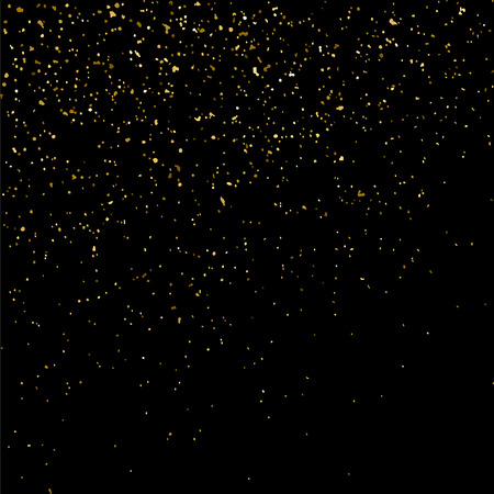 strass: Gold glitter texture isolated on black. Golden color of winners. Gilded abstract particles. Explosion of confetti shine. Celebratory background. Vector illustration Illustration