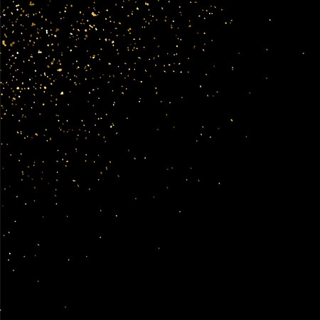 gilded: Gold glitter texture isolated on black. Golden color of winners. Gilded abstract particles. Explosion of confetti shine. Celebratory background. Vector illustration Illustration