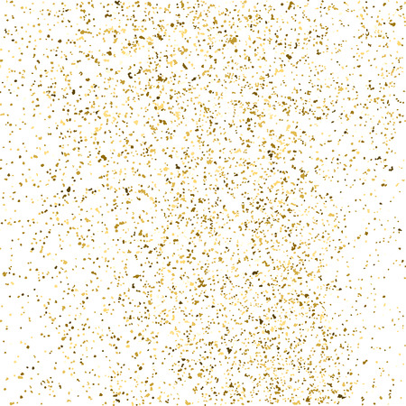 gilded: Gold glitter texture isolated on white. Golden color of winners. Gilded abstract particles. Explosion of confetti shine. Celebratory background. Vector illustration,eps 10.