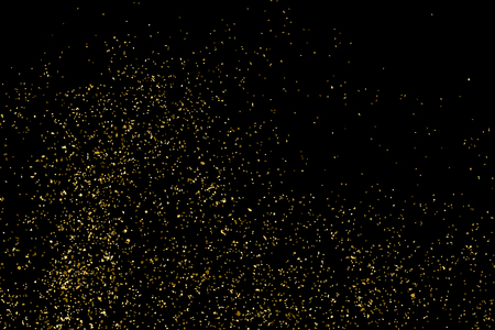 gilded: Gold glitter texture isolated on black. Golden color of winners. Gilded abstract particles. Explosion of confetti shine. Celebratory background vector. Gift wrap.