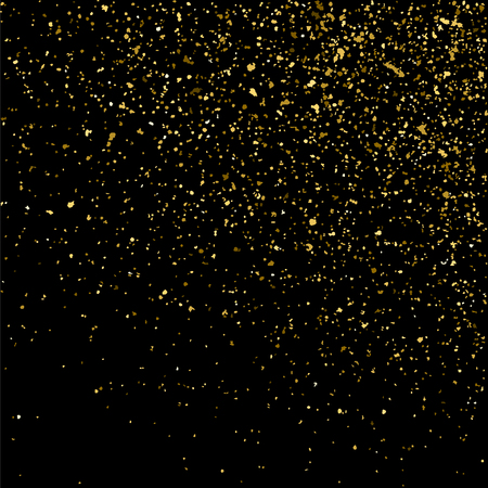 gilded: Gold glitter texture isolated on black. Golden color of winners. Gilded abstract particles. Explosion of confetti shine. Celebratory background. Vector illustration,eps 10.