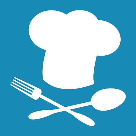 tablespoon: Big chef hat. Foods Service icon. Menu card. Simple flat