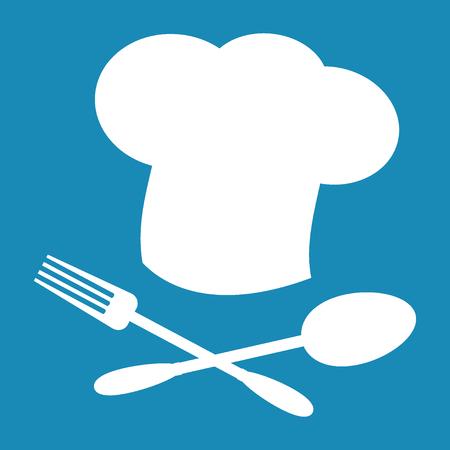 big hat: Big chef hat. Foods Service icon. Menu card. Simple flat