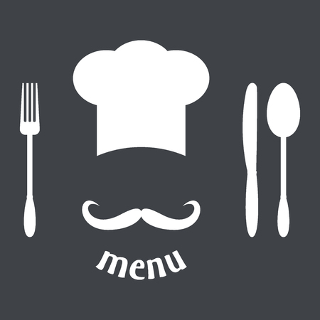 big hat: Big chef hat with mustache. Foods Service icon. Menu card. Simple flat