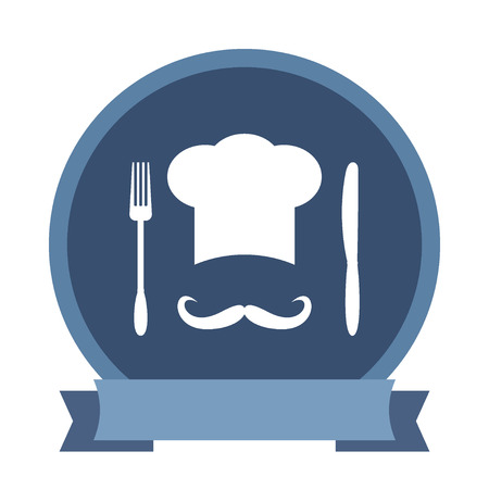 big hat: Big chef hat with mustache. Foods Service icon. Menu card with space for text. Simple flat Illustration