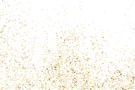 the substrate: Gold glitter texture isolated on white. Golden color of winners. Aureate abstract particles on ofay substrate. Explosion of confetti shine.