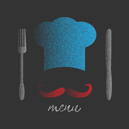 big hat: Chef hat with big mustache. Foods Service icon. Stipple effect