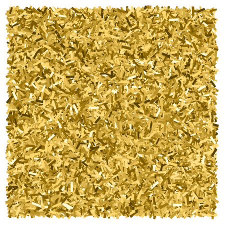 Gold glitter texture. Glittering tinsel. Gilded abstract particles. Explosion of confetti shine. Celebratory background. Illustration