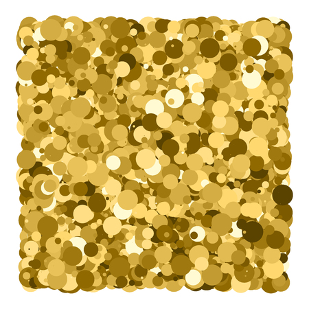 Gold glitter texture isolated on white. Glittering tinsel. Gilded abstract particles. Explosion of confetti shine. Celebratory background.