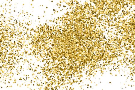 Goud glitter textuur geïsoleerd op wit. Feestelijke achtergrond. Gouden explosie van confetti.