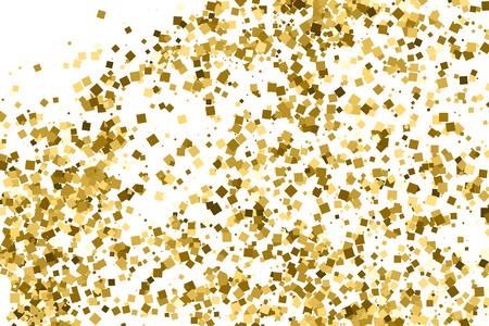 Gold glitter texture isolated on white. Celebratory background. Golden explosion of confetti.