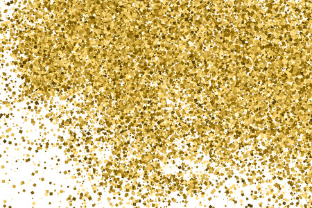Gold glitter texture isolated on white. Amber color background. Golden explosion of confetti. Vectores