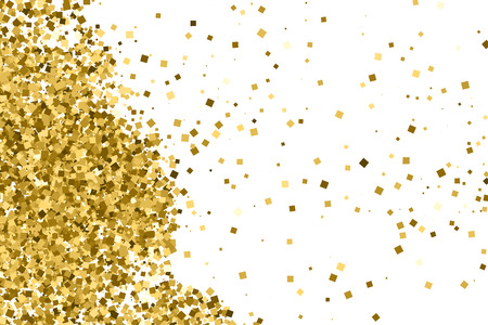 strass: Gold glitter texture isolated on white. Amber color background. Golden explosion of confetti. Illustration