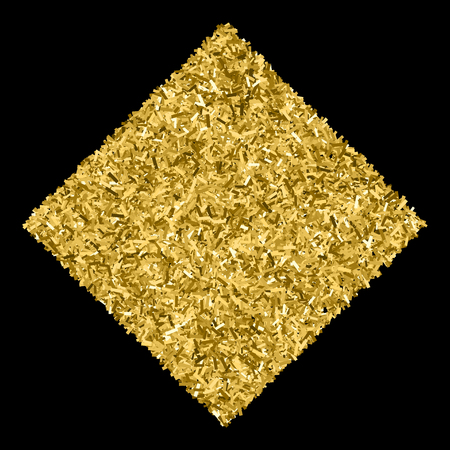 tinsel: Gold glitter texture isolated on black. Glittering tinsel. Gilded abstract particles. Explosion of confetti shine. Amber particles color.