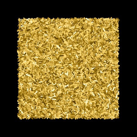 strass: Gold glitter texture isolated on black. Glittering tinsel. Gilded abstract particles. Explosion of confetti shine. Amber particles color.