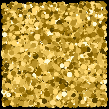 Gold glitter texture isolated on black. Glittering tinsel. Gilded abstract particles. Explosion of confetti shine. Amber particles color.