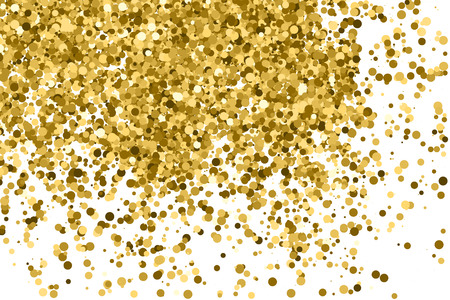 Gold glitter texture isolated on white. Amber color background. Golden explosion of confetti. 矢量图像