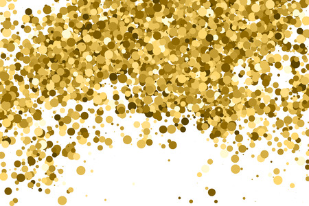 Gold glitter texture isolated on white. Amber color background. Golden explosion of confetti. Illustration