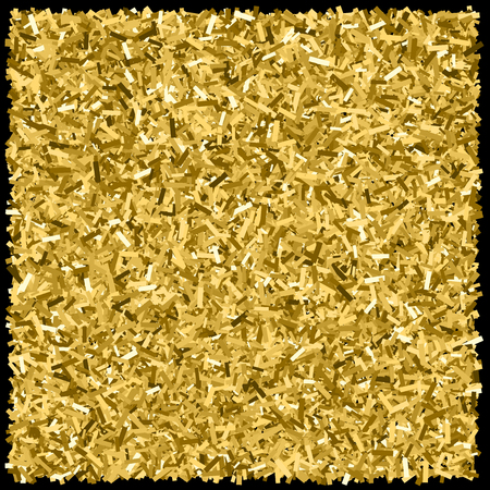 Gold glitter texture isolated on black. Glittering tinsel. Gilded abstract particles. Explosion of confetti shine. Amber particles color. 向量圖像