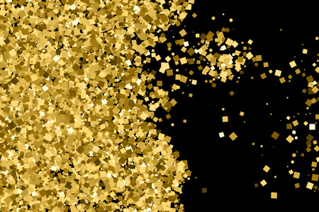 strass: Gold glitter texture isolated on black. Amber particles color. Celebratory background.