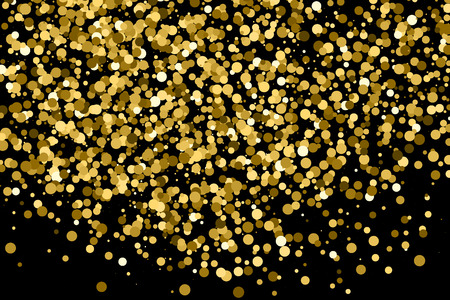 strass: Gold glitter texture isolated on black. Amber particles color. Celebratory background. Golden explosion