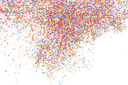 Bunte Explosion von Konfetti . Körnige abstrakte mehrfarbige Beschaffenheit lokalisiert auf weißem Hintergrund . Flache Gestaltungselement
