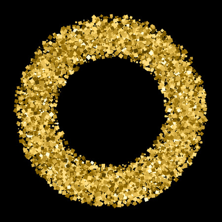 sequins: Gold frame glitter texture isolated on black. Golden color of winners. Gilded abstract particles. Explosion of confetti shine. Celebratory background.