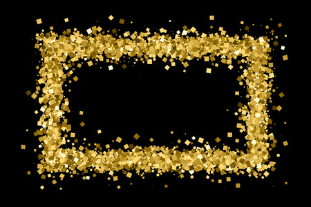 Gold frame glitter texture isolated on black. Golden color of winners. Gilded abstract particles. Explosion of confetti shine. Celebratory background. Vector illustration,eps 10. Illustration