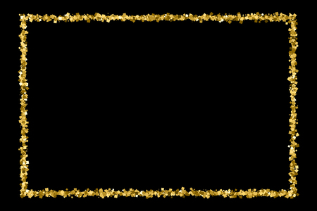 Gold frame glitter texture isolated on black. Golden color of winners. Gilded abstract particles. Explosion of confetti shine. Celebratory background.